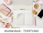 workspace with notebook... | Shutterstock . vector #723371362