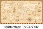 vector antique world map with... | Shutterstock .eps vector #723379432