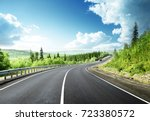 road in north mountain forest   Shutterstock . vector #723380572