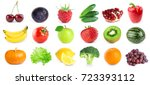 collection of fruits and... | Shutterstock . vector #723393112