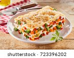 large portion of healthy... | Shutterstock . vector #723396202