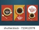 coffee shop retro minimalist... | Shutterstock .eps vector #723412078