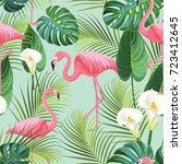 tropical pattern with flamingos....   Shutterstock .eps vector #723412645