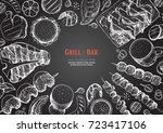 grill and bar menu design... | Shutterstock .eps vector #723417106