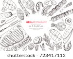 grilled meat and vegetables top ... | Shutterstock .eps vector #723417112