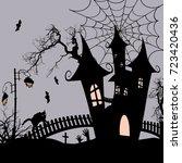 halloween background with...   Shutterstock .eps vector #723420436