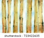 watercolor painting. tree... | Shutterstock . vector #723422635