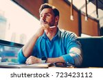 handsome male architect... | Shutterstock . vector #723423112
