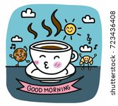 good morning coffee cup and... | Shutterstock .eps vector #723436408