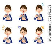 smartphone operation male...   Shutterstock .eps vector #723441175