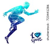 Bright watercolor silhouette of a running man. Vector sport illustration. Graphic figure of the athlete. Active people. Recreation lifestyle. Man. I love sport.