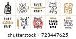 set of vector bakery lettering... | Shutterstock .eps vector #723447625