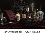 witchcraft composition with... | Shutterstock . vector #723448165