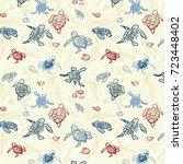 seamless pattern all over... | Shutterstock .eps vector #723448402