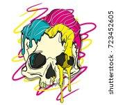 Vector Illustration Skull With...