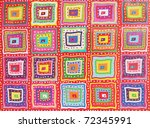 Many-colored abstraction from the squares and the points - stock photo