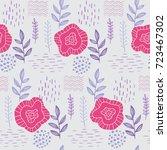 floral elegant seamless hand... | Shutterstock .eps vector #723467302