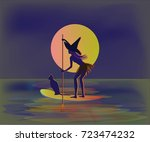 halloween moon  witch in a hat  ... | Shutterstock .eps vector #723474232