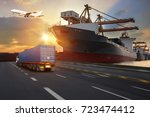 truck transport container on... | Shutterstock . vector #723474412