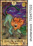 chimera monster. five of wands. ... | Shutterstock . vector #723477322