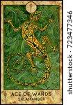 salamander. ace of wands.... | Shutterstock . vector #723477346