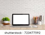 stylish workspace with laptop... | Shutterstock . vector #723477592
