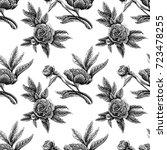 seamless vector flower peony... | Shutterstock .eps vector #723478255