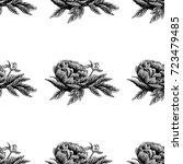 seamless vector flower peony... | Shutterstock .eps vector #723479485