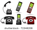 retro telephone and cordless  ...   Shutterstock .eps vector #72348208