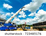many truck and crane in yard... | Shutterstock . vector #723485176