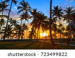 amazing colourful sunset in... | Shutterstock . vector #723499822