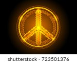 peace gold symbol background. | Shutterstock .eps vector #723501376