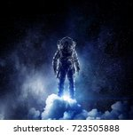 adventure of spaceman. mixed... | Shutterstock . vector #723505888
