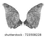 wings. set of black white bird... | Shutterstock .eps vector #723508228
