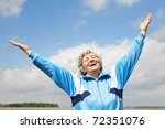 portrait of mature woman with... | Shutterstock . vector #72351076