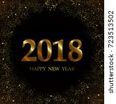 2018 new year black background...   Shutterstock .eps vector #723513502