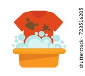 dirty t shirt and plastic basin ... | Shutterstock .eps vector #723516205