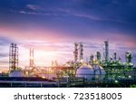 oil and gas refinery plant or... | Shutterstock . vector #723518005