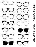 glasses kitty icon set. cat... | Shutterstock .eps vector #723519532