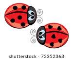 two ladybugs. vector...