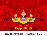 illustration of burning diya on ... | Shutterstock .eps vector #723524506