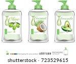 skincare package for olive oil... | Shutterstock .eps vector #723529615