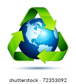 recycling arrows and blue earth | Shutterstock .eps vector #72353092