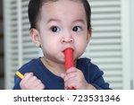 1 year old asian toddler boy...   Shutterstock . vector #723531346
