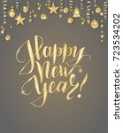 happy new year card with hand... | Shutterstock .eps vector #723534202
