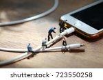 phone charger wire is broken   Shutterstock . vector #723550258