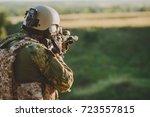 infantry soldier shooting... | Shutterstock . vector #723557815