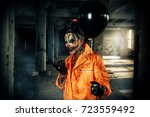 sinister clown man stained in... | Shutterstock . vector #723559492