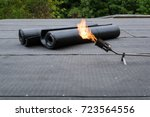 heating and melting bitumen... | Shutterstock . vector #723564556