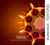 beautiful diwali festival diya... | Shutterstock .eps vector #723572932